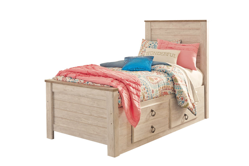 Ashley Willowton Twin Storage Bed In White - The Furniture Space.