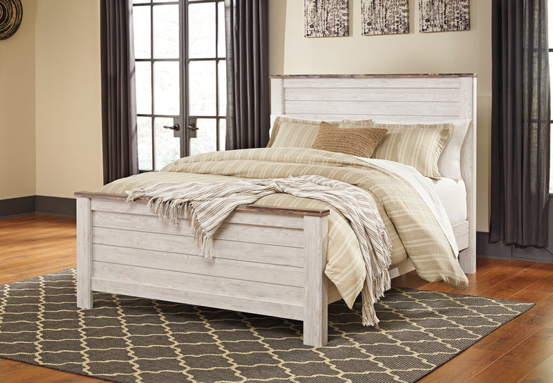 Ashley Willowton Queen Panel Bed In White - The Furniture Space.