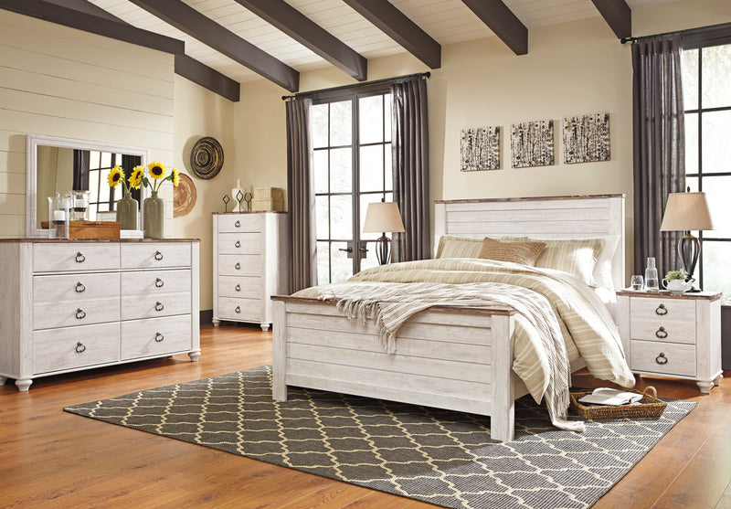 Ashley Willowton 6PC Queen Panel Bedroom Set With Two Nightstand & Chest In White - The Furniture Space.