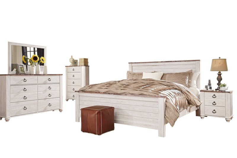 Ashley Willowton 5PC Queen Panel Bedroom Set With Chest In White - The Furniture Space.
