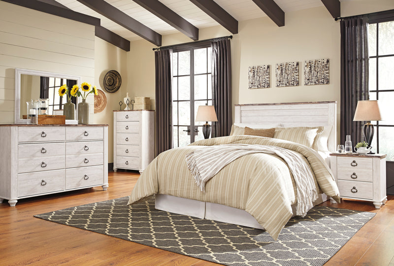 Ashley Willowton 5PC E King Panel Headboard Bedroom Set With Chest In White - The Furniture Space.