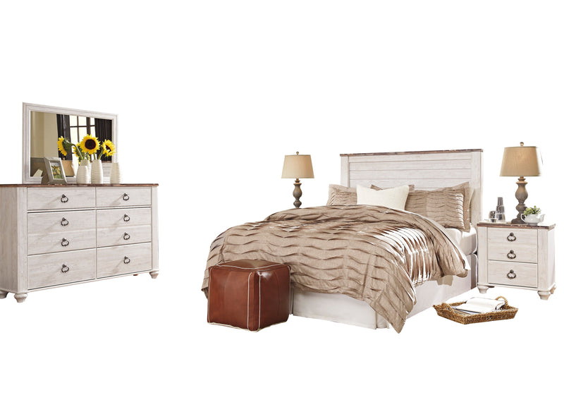 Ashley Willowton 5PC Cal King Panel Headboard Bedroom Set With Two Nightstand In White - The Furniture Space.