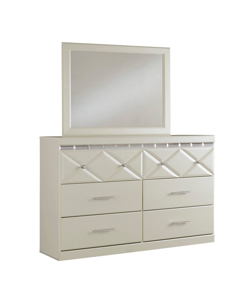 Ashley Dreamur 5PC Bedroom Set E King Panel Bed Dresser Mirror One Nightstand Chest in Champagne - The Furniture Space.