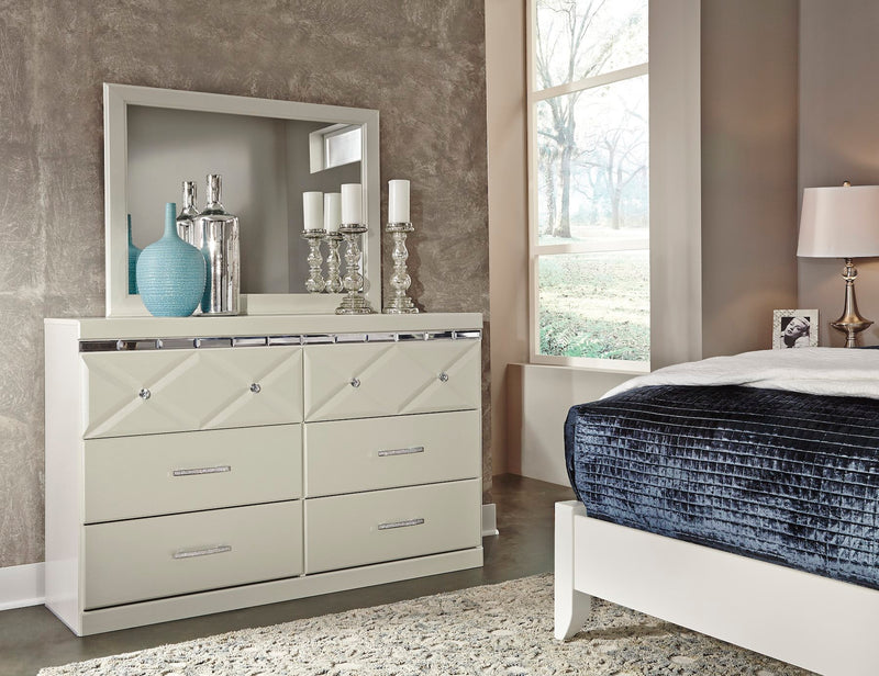 Ashley Dreamur Dresser & Mirror in Champagne - The Furniture Space.