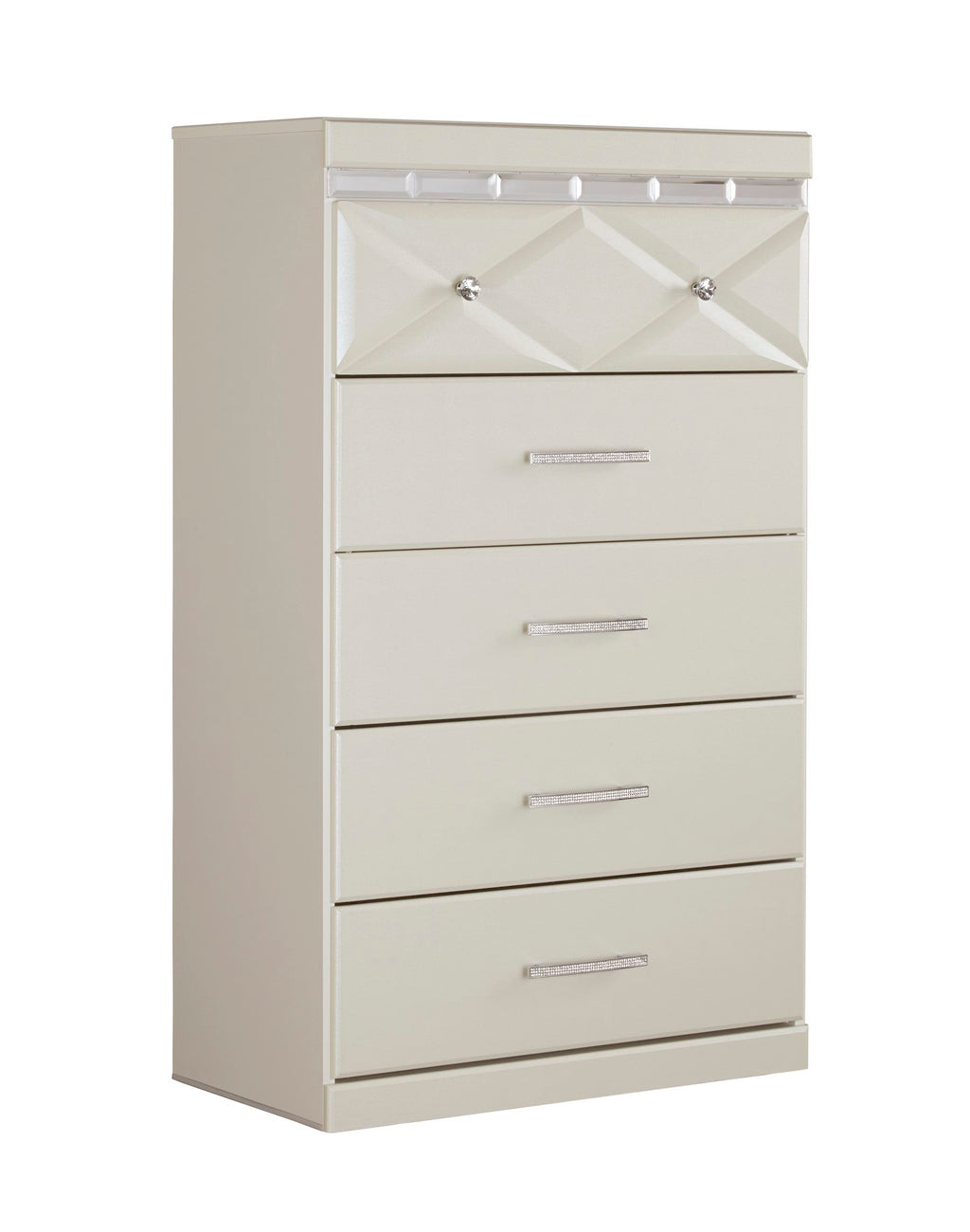 Ashley Dreamur Five Drawer Chest in Champagne - The Furniture Space.