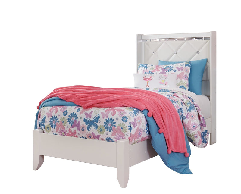 Ashley Dreamur 5PC Bedroom Set Twin Panel Bed Dresser Mirror One Nightstand Chest in Champagne - The Furniture Space.