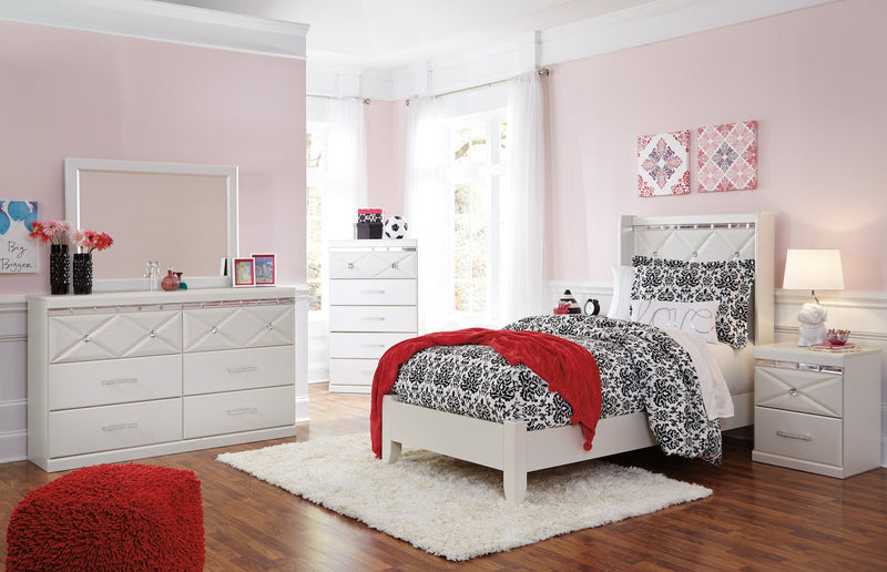 Ashley Dreamur 5PC Bedroom Set Twin Panel Bed Dresser Mirror Two Nightstands in Champagne - The Furniture Space.