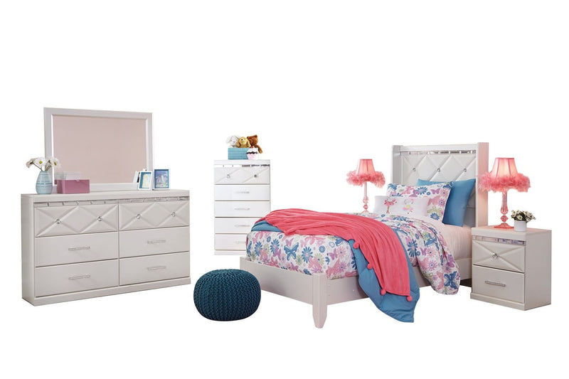 Ashley Dreamur 6PC Bedroom Set Twin Panel Bed Dresser Mirror Two Nightstands Chest in Champagne - The Furniture Space.