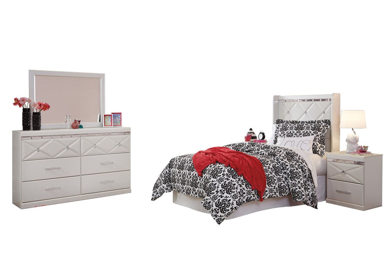 Ashley Dreamur 4PC Bedroom Set Twin Panel Headboard Dresser Mirror One Nightstand in Champagne - The Furniture Space.