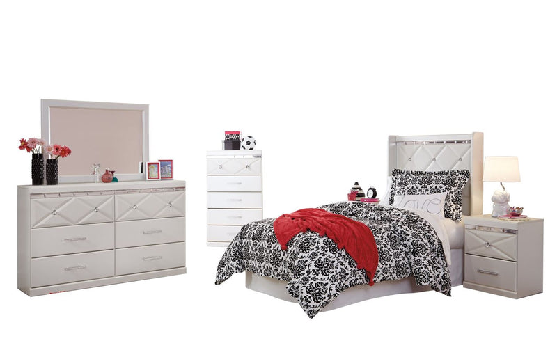 Ashley Dreamur 6PC Bedroom Set Twin Panel Headboard Dresser Mirror Two Nightstands Chest in Champagne - The Furniture Space.