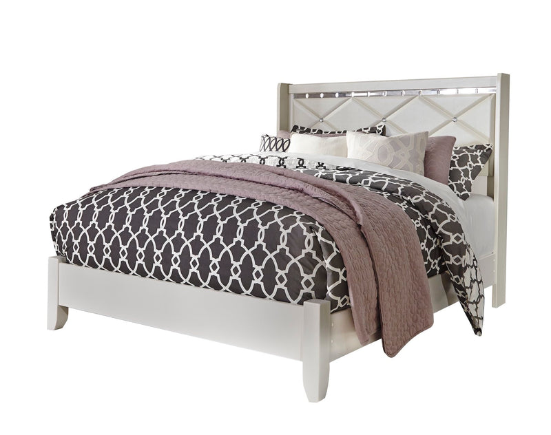 Ashley Dreamur 5PC Bedroom Set Full Panel Bed Dresser Mirror Two Nightstands in Champagne - The Furniture Space.