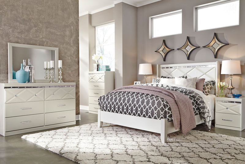Ashley Dreamur 4PC Bedroom Set E King Panel Bed Dresser Mirror One Nightstand in Champagne - The Furniture Space.