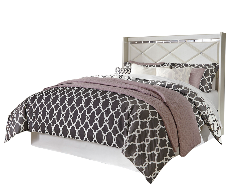 Ashley Dreamur 5PC Bedroom Set Full Panel Headboard Dresser Mirror Two Nightstands in Champagne - The Furniture Space.
