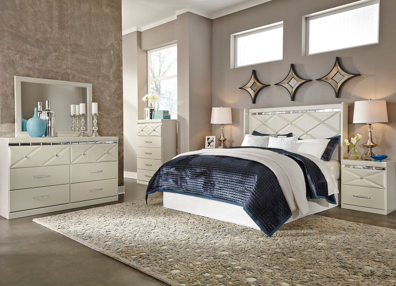 Ashley Dreamur 5PC Bedroom Set E King/Cal King Panel Headboard Dresser Mirror Two Nightstands in Champagne - The Furniture Space.