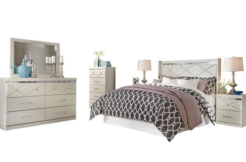Ashley Dreamur 6PC Bedroom Set Queen Panel Headboard Dresser Mirror Two Nightstands Chest in Champagne - The Furniture Space.