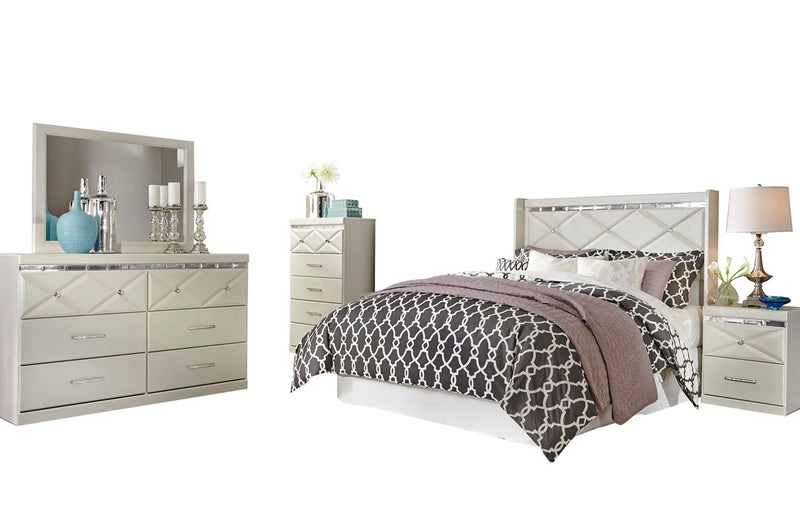 Ashley Dreamur 5PC Bedroom Set Full Panel Headboard Dresser Mirror One Nightstand Chest in Champagne - The Furniture Space.