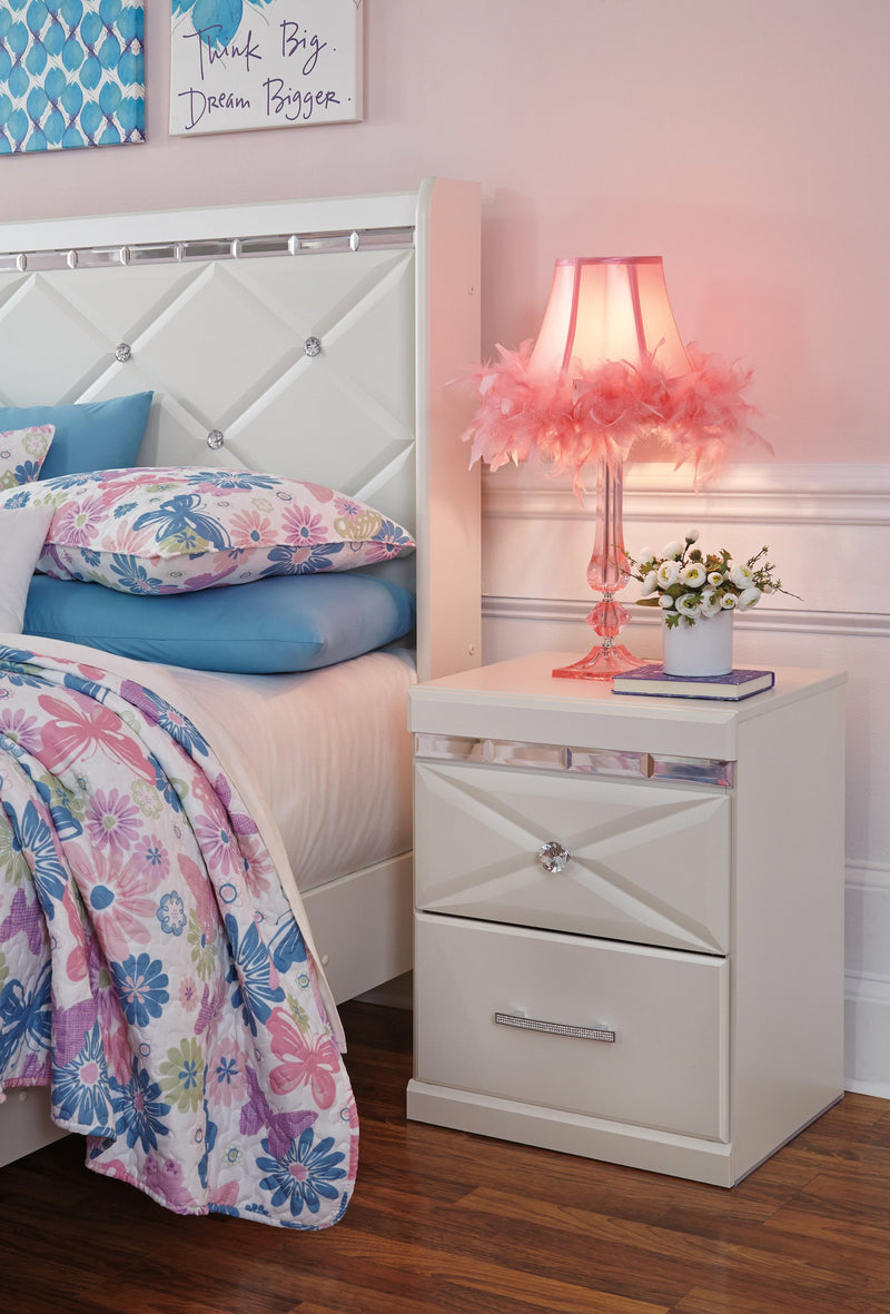 Ashley Dreamur Two Drawer Nightstands in Champagne - The Furniture Space.