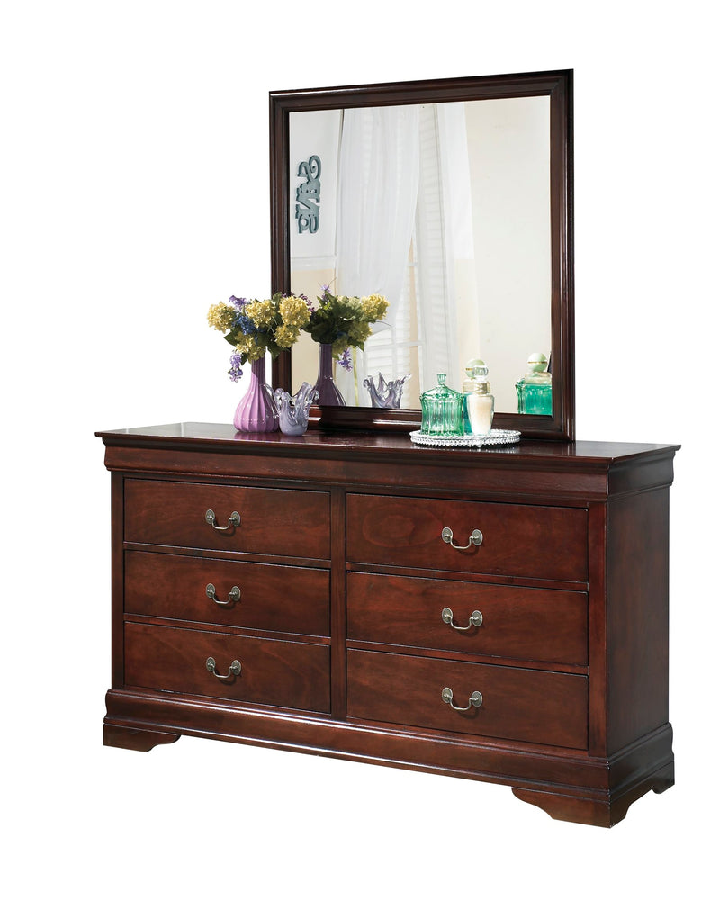 Ashley Alisdair 5PC Bedroom Set E King Sleigh Bed Two Nightstand Dresser Mirror in Dark Brown - The Furniture Space.