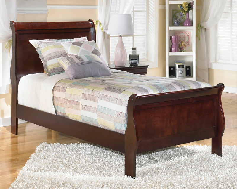 Ashley Alisdair Twin Sleigh Bed in Dark Brown - The Furniture Space.