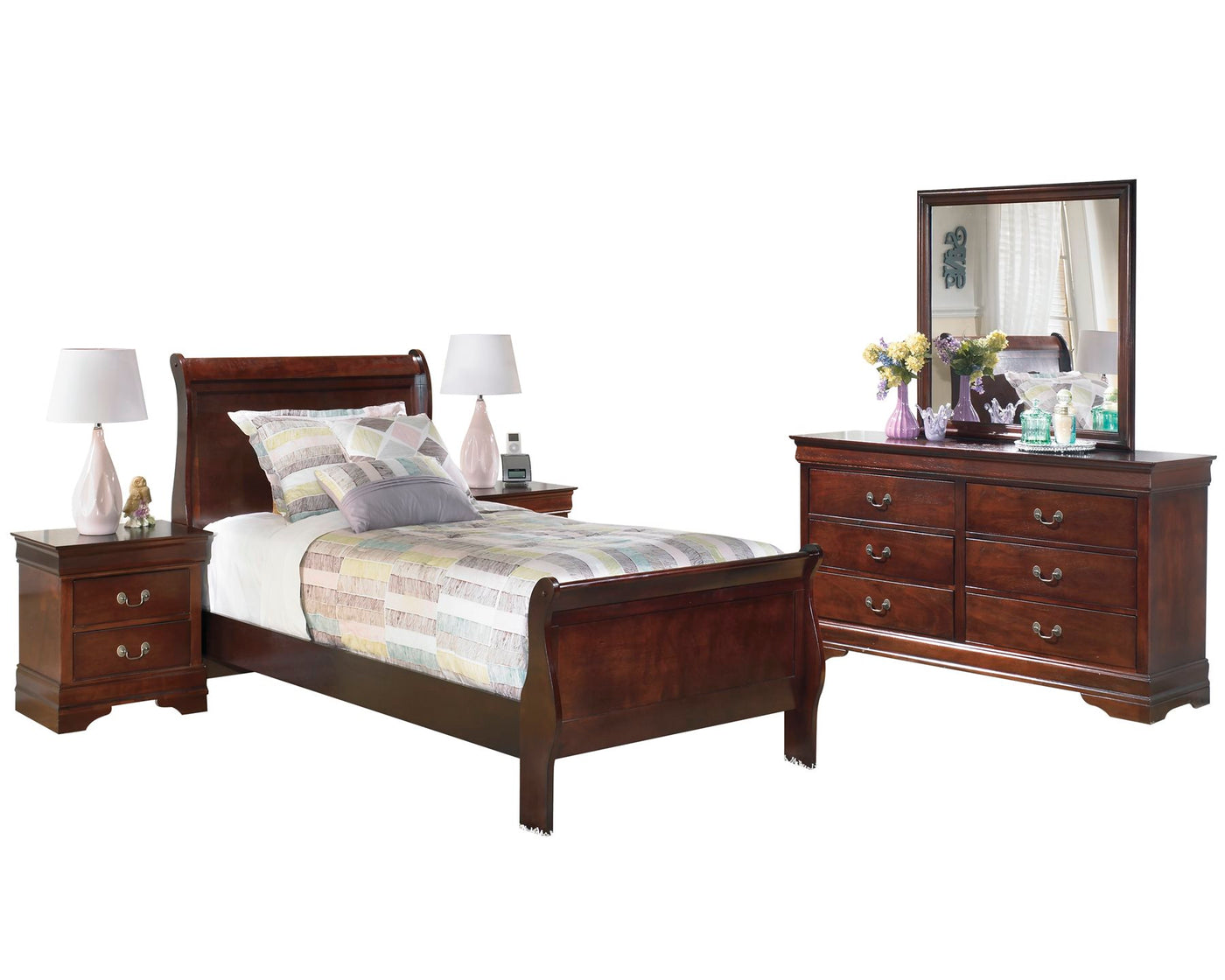 Ashley Alisdair 5 PC Bedroom Set Twin Sleigh Bed Two Nightstand ...