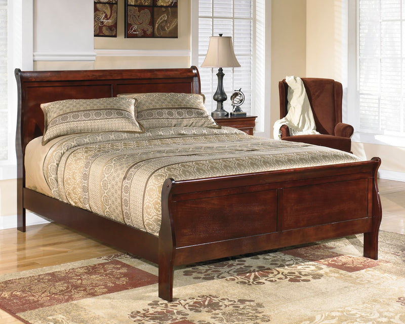 Ashley Alisdair Queen Sleigh Bed in Dark Brown - The Furniture Space.