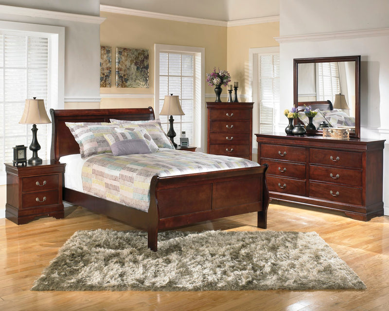 Ashley Alisdair 6PC Bedroom Set Full Sleigh Bed Two Nightstand Dresser Mirror Chest in Dark Brown - The Furniture Space.