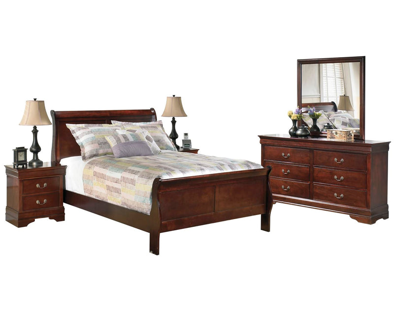 Ashley Alisdair 5PC Bedroom Set Full Sleigh Bed Two Nightstand Dresser Mirror in Dark Brown - The Furniture Space.