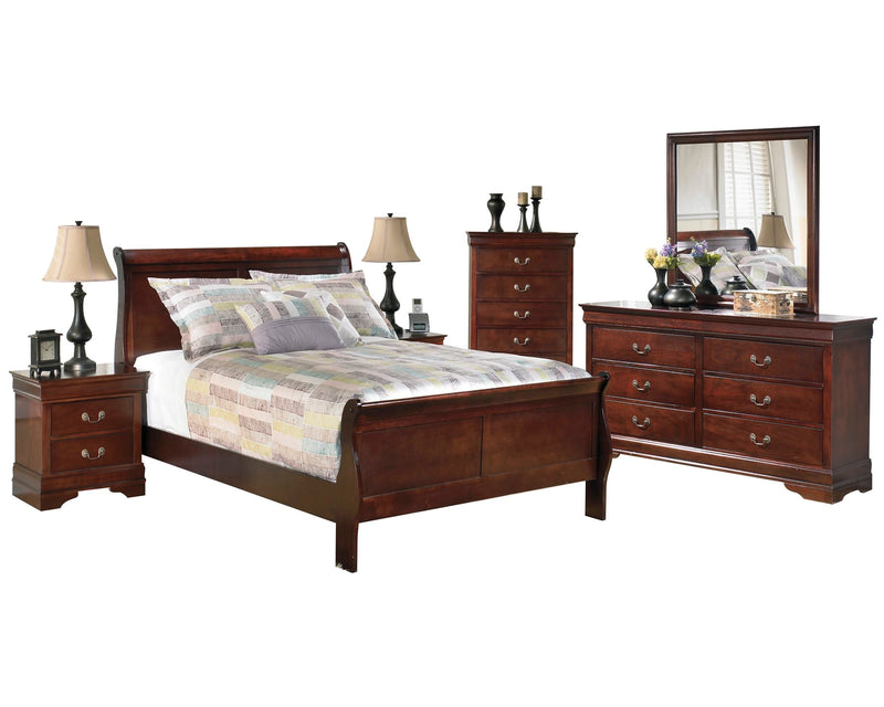 Ashley Alisdair 6PC Bedroom Set E King Sleigh Bed Two Nightstand Dresser Mirror Chest in Dark Brown - The Furniture Space.