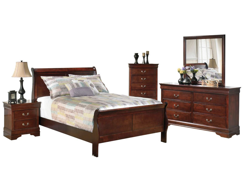 Ashley Alisdair 5PC Bedroom Set E King Sleigh Bed One Nightstand Dresser Mirror Chest in Dark Brown - The Furniture Space.
