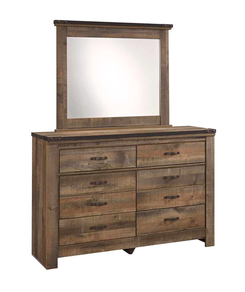 Ashley Trinell 5PC Bedroom Set Twin Metal Bed One Nightstand Dresser Mirror Chest in Brown - The Furniture Space.