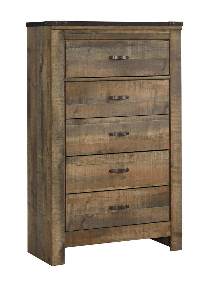 Ashley Trinell Five Drawer Chest in Brown - The Furniture Space.