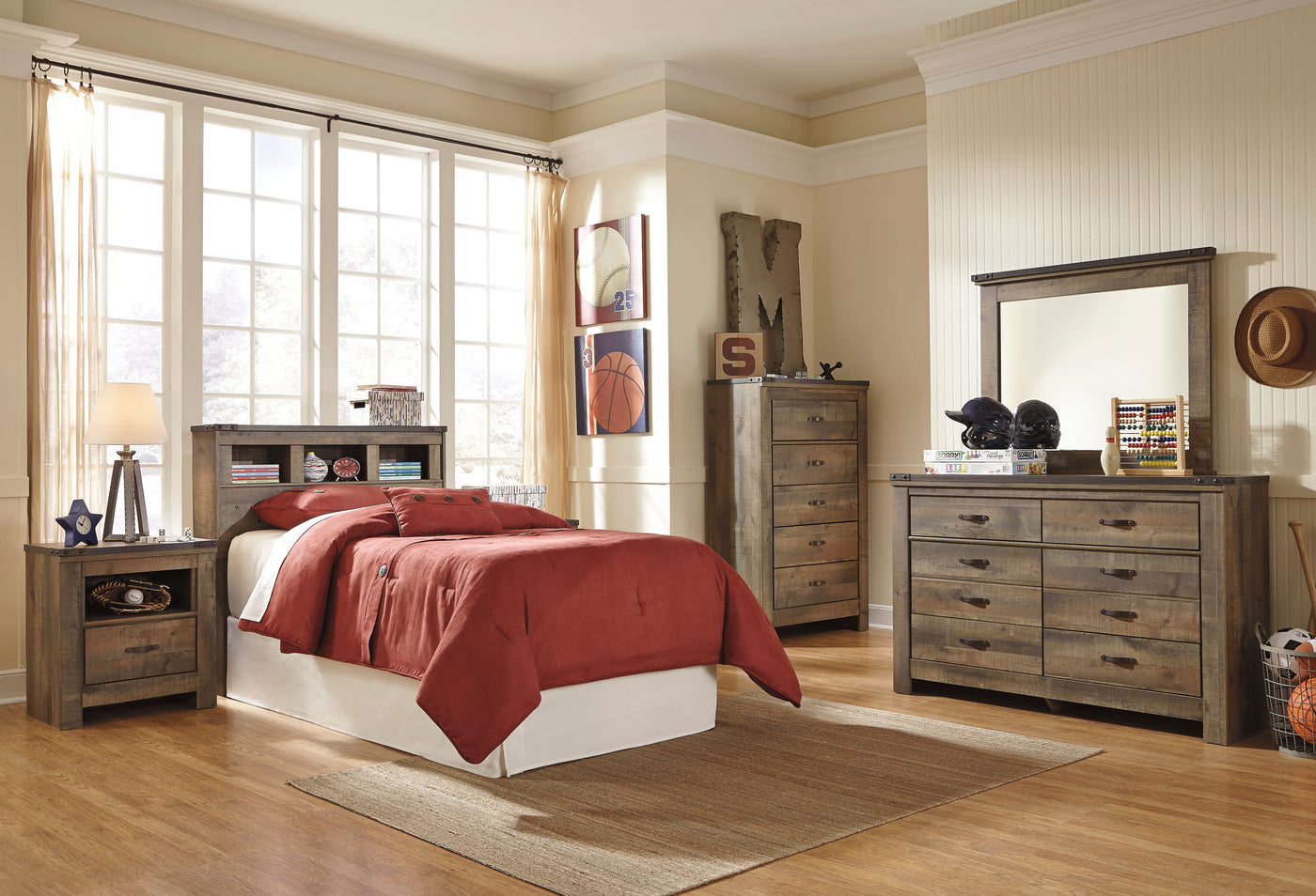 ... Ashley Trinell 5PC Bedroom Set Twin Bookcase Headboard One Nightstand  Dresser Mirror Chest In Brown ...
