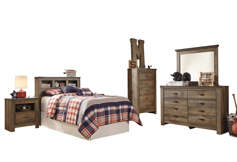 Ashley Trinell 5PC Bedroom Set Twin Bookcase Headboard One Nightstand Dresser Mirror Chest in Brown - The Furniture Space.