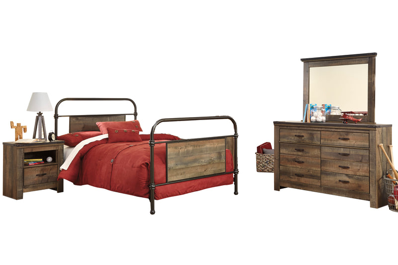 Ashley Trinell 4PC Bedroom Set Full Metal Bed One Nightstand Dresser Mirror in Brown - The Furniture Space.
