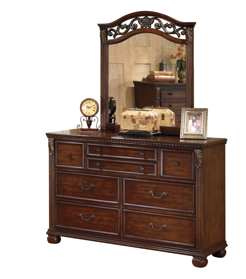 Ashley Leahlyn Dresser & Mirror in Warm Brown - The Furniture Space.