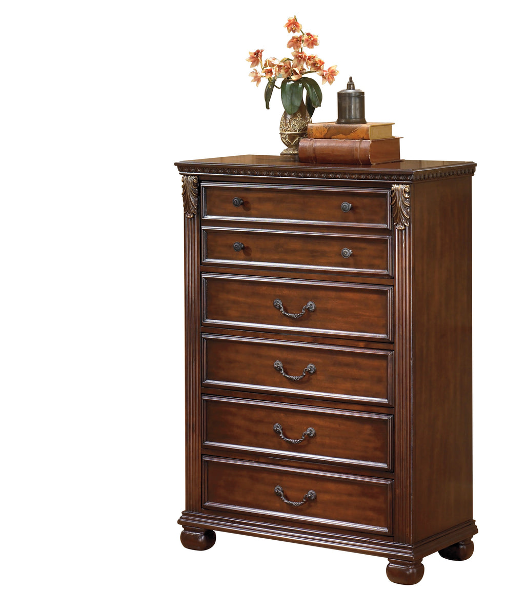 Ashley Leahlyn Five Drawer Chest in Warm Brown - The Furniture Space.