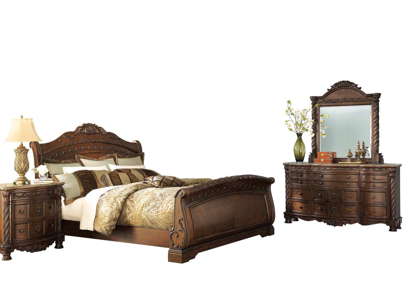 Ashley North Shore 4pc Bedroom Set Queen Sleigh Bed Dresser Mirror The Furniture Space