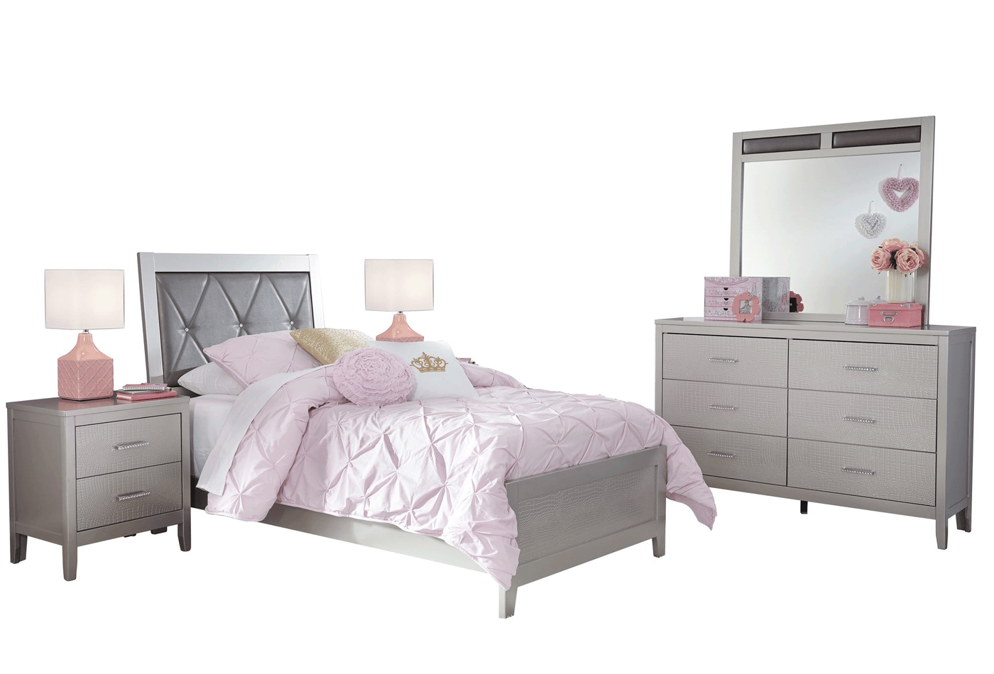 Ashley Olivet 5 PC Bedroom Set Twin Panel Bed Two Nightstand Dresser Mirror  in Silver