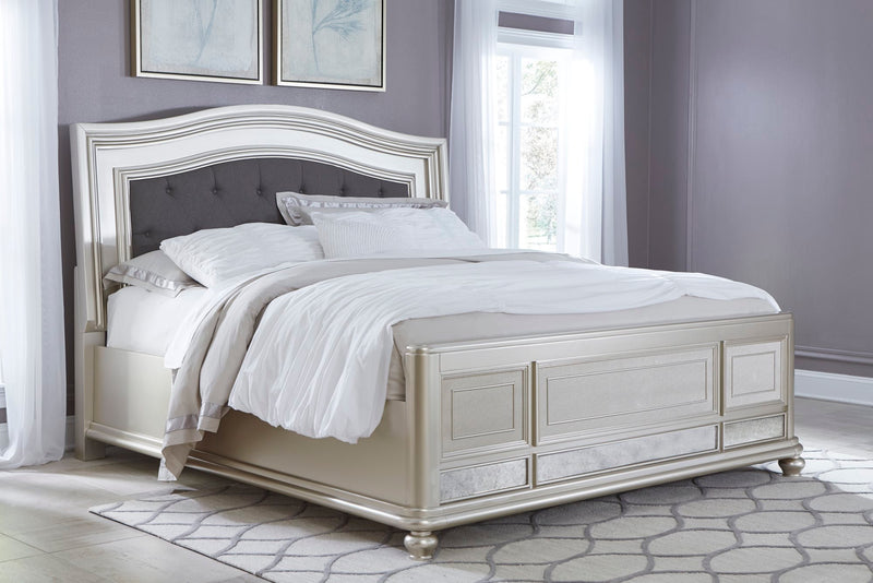 Ashley Coralayne Cal King Upholstered Bed in Silver - The Furniture Space.