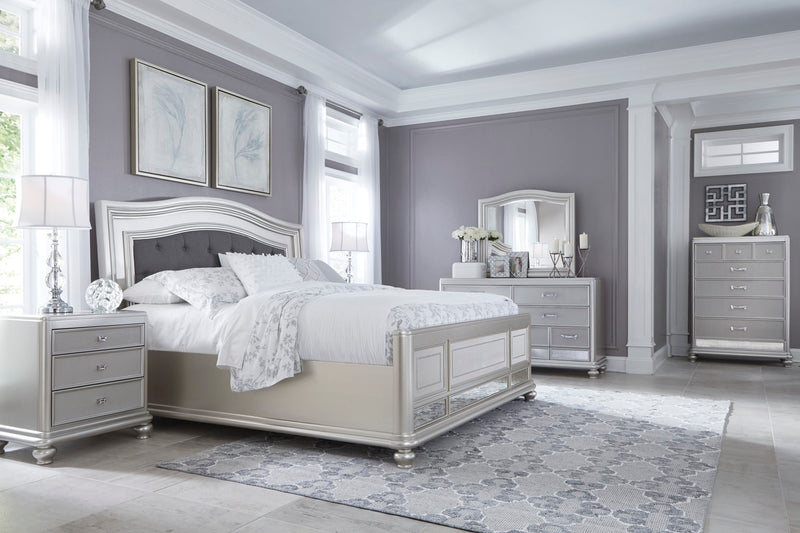 Ashley Coralayne 6PC Bedroom Set Cal King Upholstered Bed Two Nightstand Dresser Mirror Chest in Silver - The Furniture Space.