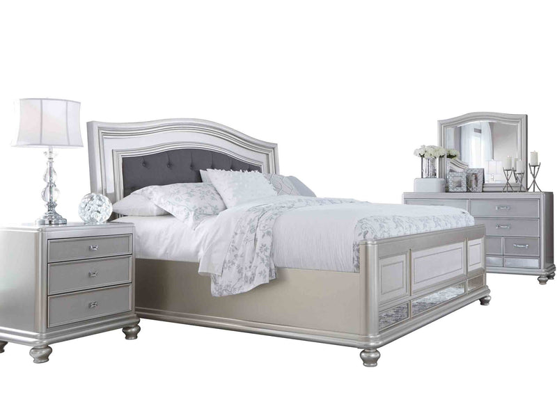 Ashley Coralayne 4PC Bedroom Set Cal King Upholstered Bed One Nightstand Dresser Mirror in Silver - The Furniture Space.