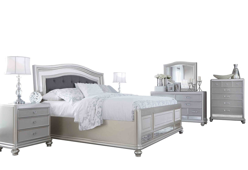 Ashley Coralayne 6PC Bedroom Set Queen Upholstered Bed Two Nightstand Dresser Mirror Chest in Silver - The Furniture Space.