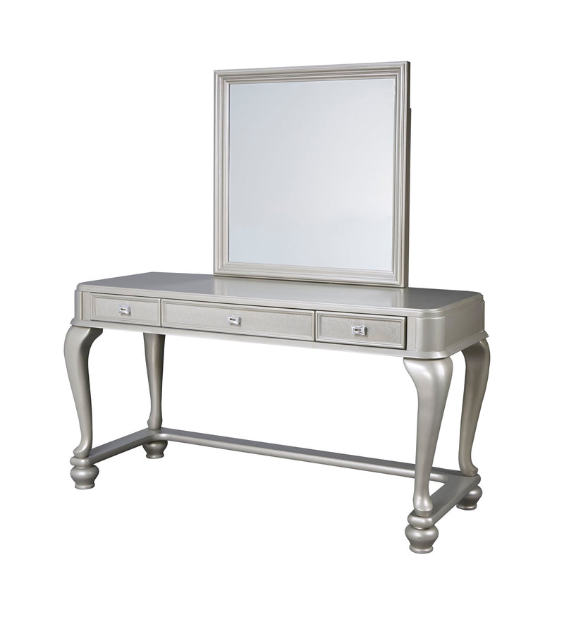 Ashley Coralayne Vanity & Mirror in Silver - The Furniture Space.