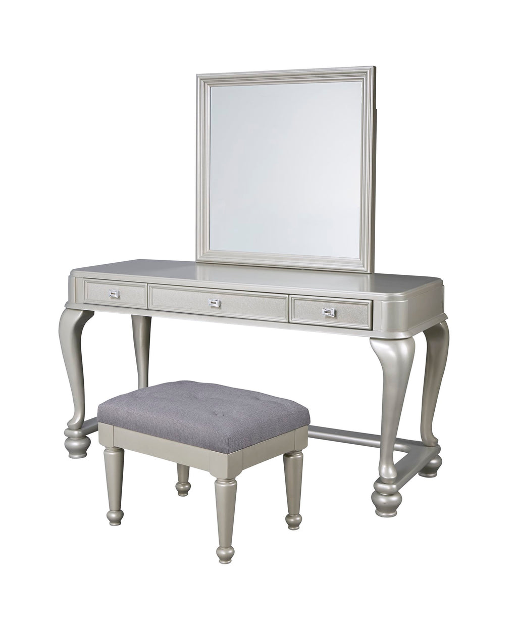 Ashley Coralayne 3 Piece Vanity Vanity Mirror Stool in Silver - The Furniture Space.