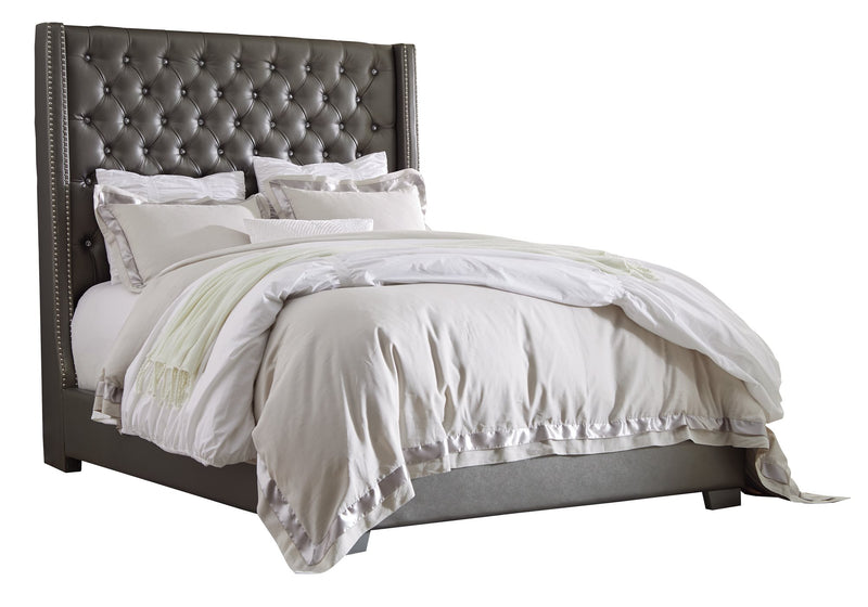 Ashley Coralayne E King Leather Bed in Gray