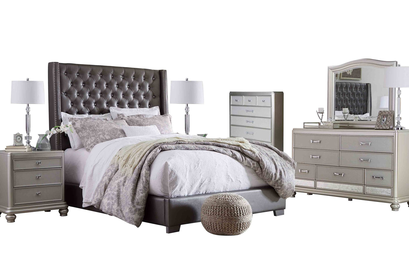 Ashley Coralayne 6 PC Bedroom Set Cal King Leather Bed Two Nightstand  Dresser Mirror Chest in Gray