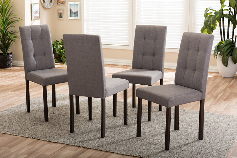 Contemporary 4 Dining Chairs in Grey Fabric - The Furniture Space.