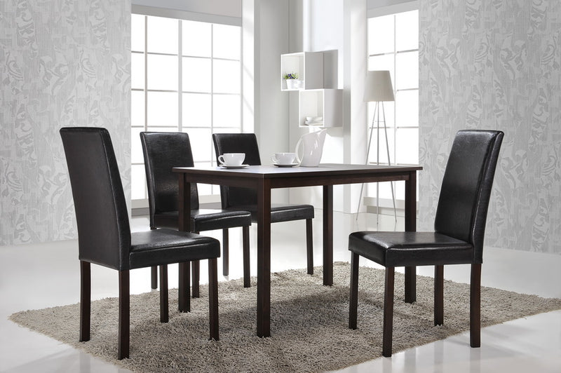 Modern 4 Dining Side Chairs in Dark Brown Solid Rubber Wood