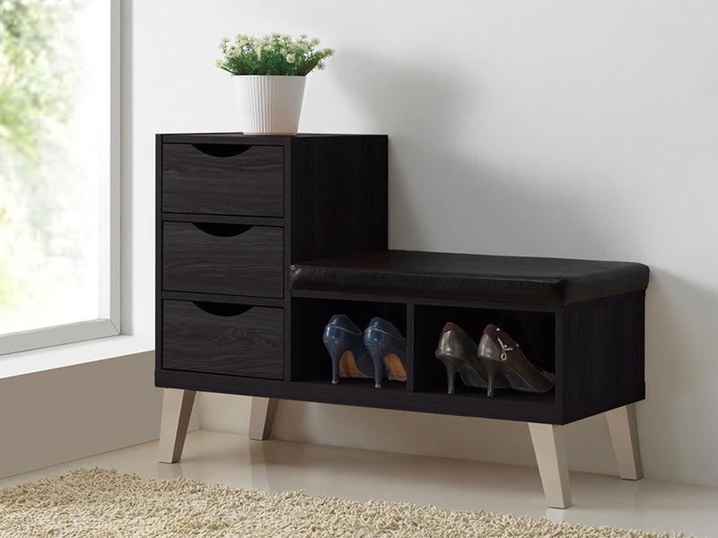 Contemporary Storage Shoe Bench in Dark Brown Faux Leather