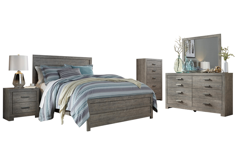 Ashley Culverbach 5PC Queen Panel Bedroom Set with Chest in Gray - The Furniture Space.